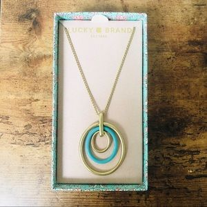 NIB Lucky Brand Gold Turquoise Circle Necklace